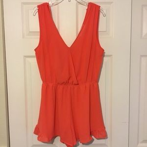 EUC ASTR The Label Coral Romper Sz. M